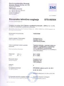 Fonaterm - slovensko tehnično soglasje STS certifikat